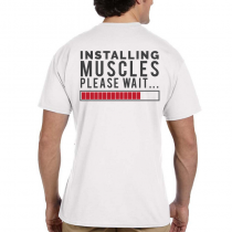 Men's Fitness T-Shirts Workout Tee Installing Muscles Please Wait