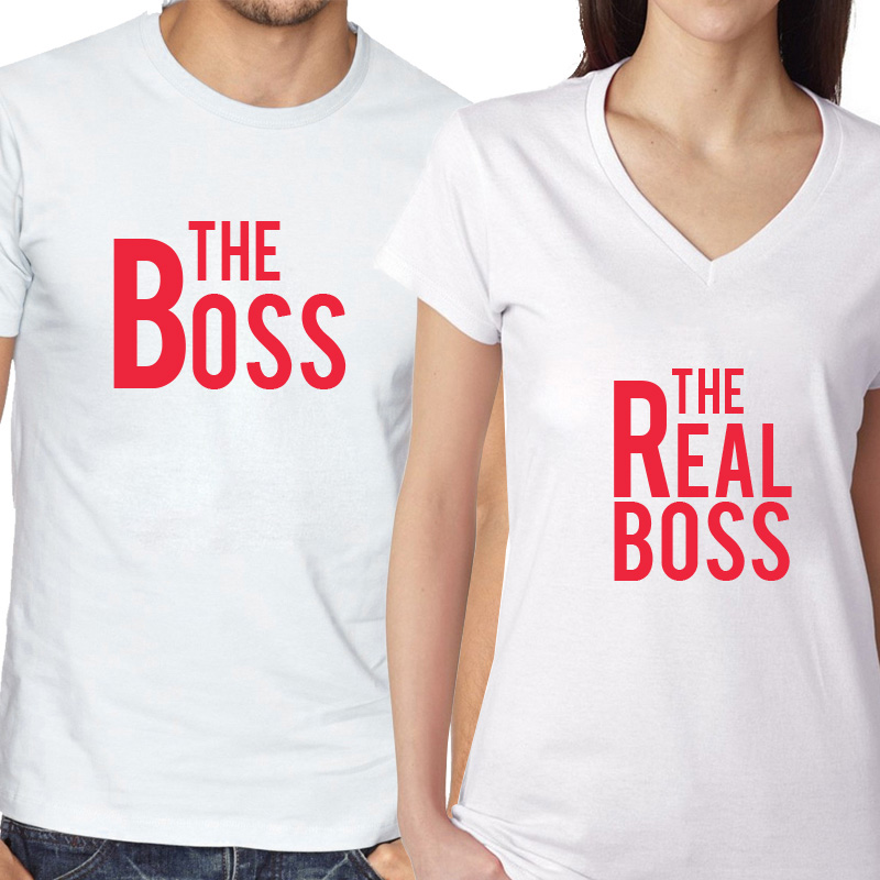 28d6a2406 Valentine's Day Couples Matching T-shirt The Boss/The Real Boss