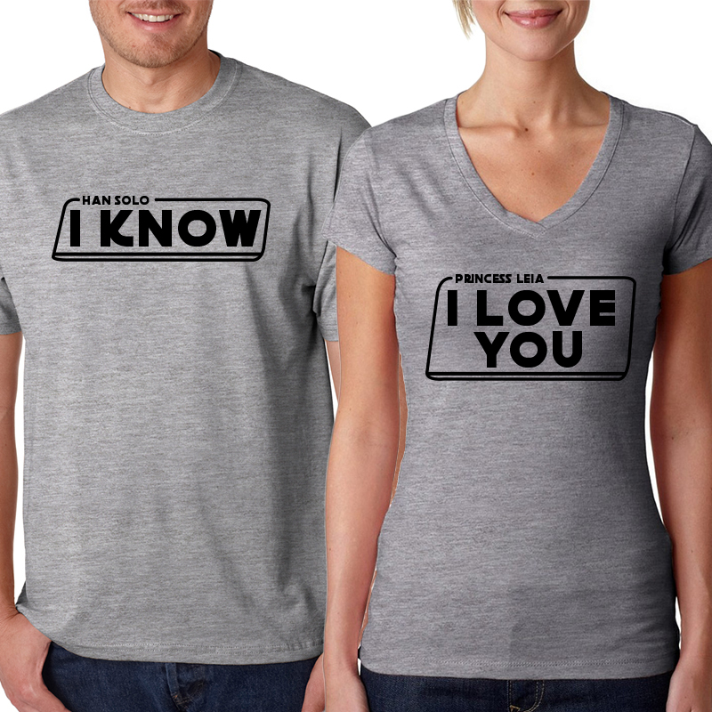 Valentine's Day Couples Matching T-shirt I Love You. I Know