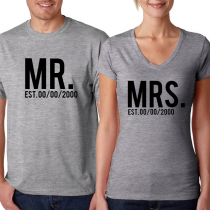 Valentine's Day Couples Matching T-shirt Mr & Mrs