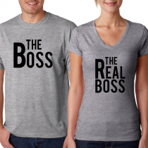 Valentine's Day Couples Matching T-shirt The Boss/The Real Boss