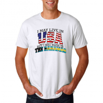 Men's T-shirt Tee. Country Pride I May Live in USA But I Was Made In The Bahamas.