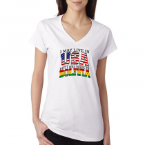 T-shirts V-Neck Women's Tee. Country Pride I May Live in USA But I Was Made In Bolivia.