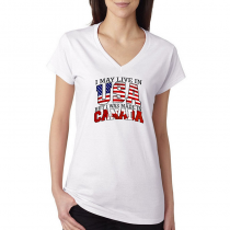 T-shirts V-Neck Women's Tee. Country Pride I May Live in USA But I Was Made In Canada.