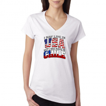 T-shirts V-Neck Women's Tee. Country Pride I May Live in USA But I Was Made In Chile.