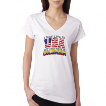 T-shirts V-Neck Women's Tee. Country Pride I May Live in USA But I Was Made In Colombia.