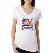 T-shirts V-Neck Women's Tee. Country Pride I May Live in USA But I Was Made In Cuba.