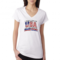 T-shirts V-Neck Women's Tee. Country Pride I May Live in USA But I Was Made In Dominican Republic.
