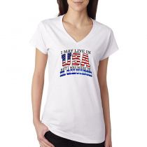 T-shirts V-Neck Women's Tee. Country Pride I May Live in USA But I Was Made In El Salvador.