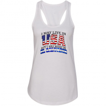 Women Woman Tank Top T-shirt. I May Live in USA But I Was Made in El Salvador.