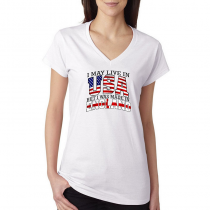 T-shirts V-Neck Women's Tee. Country Pride I May Live in USA But I Was Made In England.