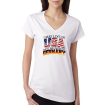 T-shirts V-Neck Women's Tee. Country Pride I May Live in USA But I Was Made In Germany.