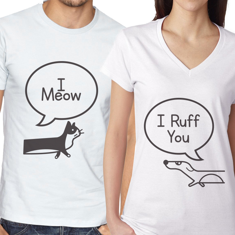I Meow / I Ruff You Couples Matching Shirts - Matching Couple Tee T-shirt