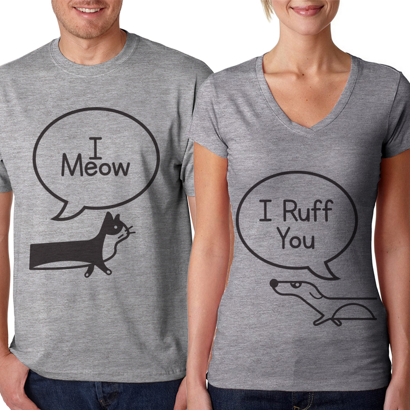 I Meow / I Ruff You  Heather Gray 